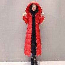 Rojo de las mujeres abajo chaqueta 2018 nuevo invierno mujeres abajo  Abrigos Mujer x-long espesar cortaviento Delgado pato blanc. 995eaade4c68