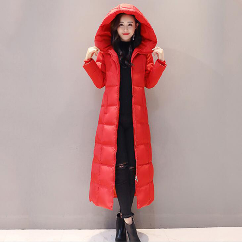Women's Red   Down   Jacket 2018 New Winter Women   Down     Coats   Female X-Long Thicken Slim Windproof White Duck   Down   Jacket Parka