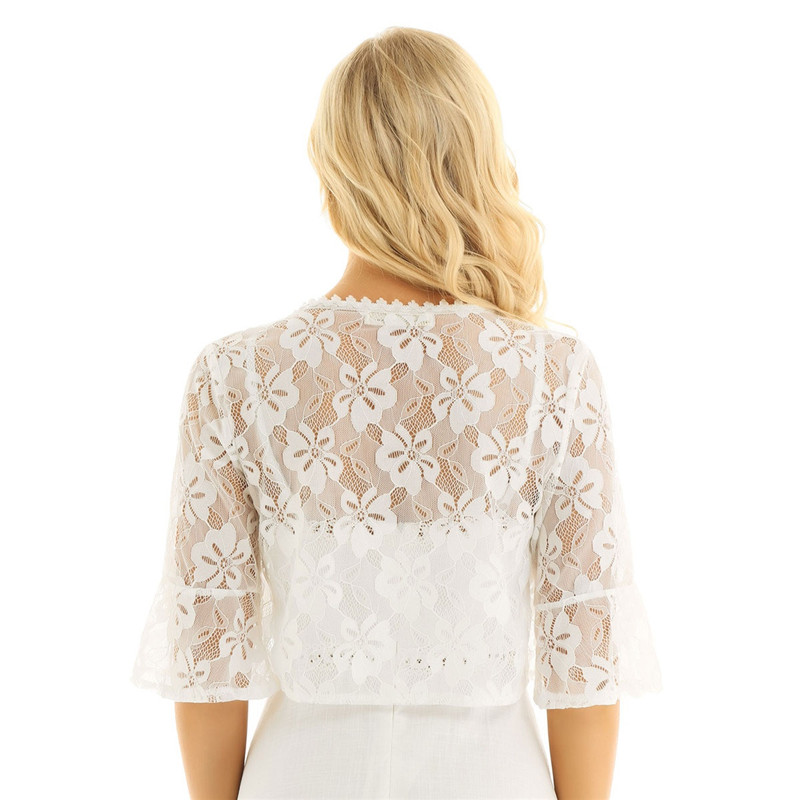 Floral Lace Wrap Half Bell Sleeve Black White Bridal Wraps Jacket Bolero 14
