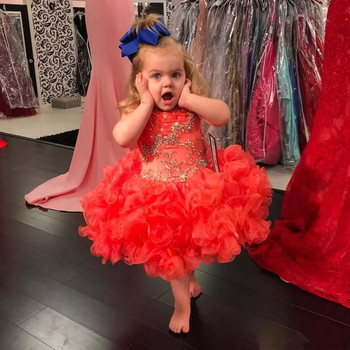 Cute Red Organza Knee Length Baby Girls Birthday Dresses Glitze Beaded Cupcake Pageant Party Gown Flower Girls Dress