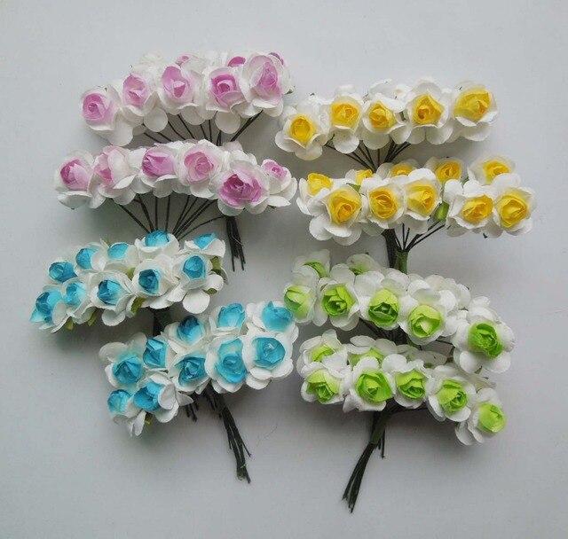 200pcs 2cm Two Tone Color Artificial Mulberry Paper Rose Flower ...