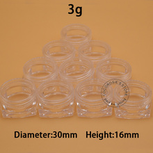 (100 pieces/lot) clear 3g jars comestic containers square jar mini small transparent eyeliner box for travling