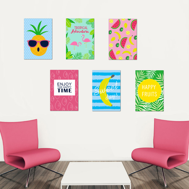 Wall Sticker Pineapple Watermelon Banana Food Fruit Funny Picture Decal Kitchen Home Decor Kids Bedroom
