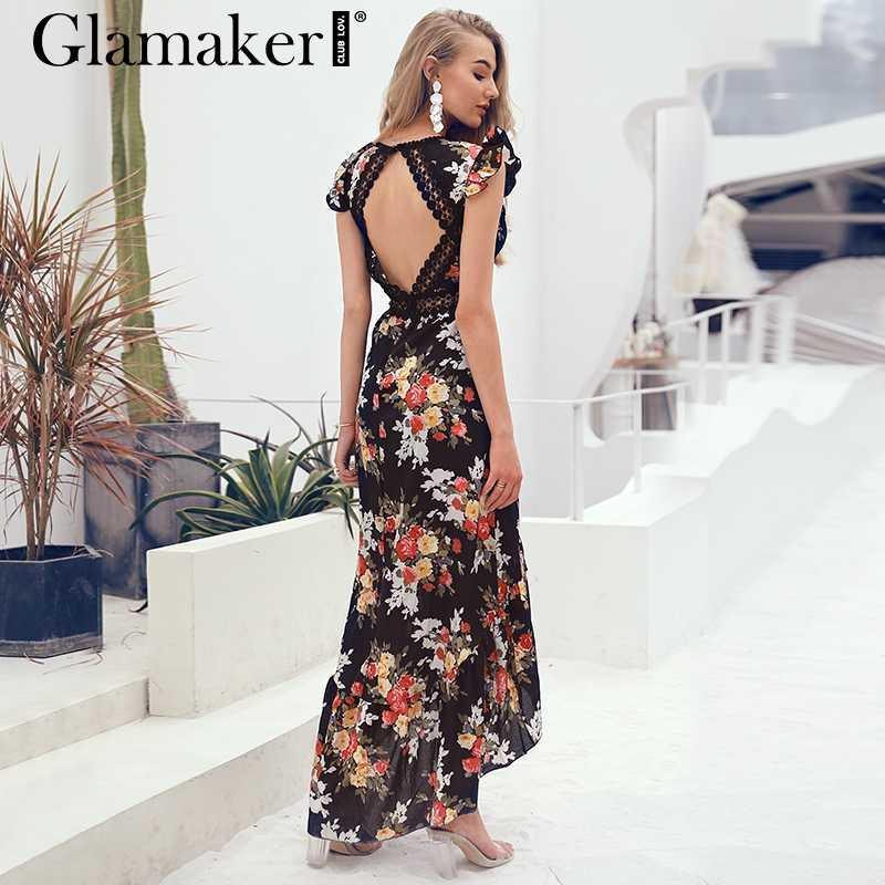 d9031fe5233 Glamaker Sexy deep V neck backless summer dress Women floral print bohemian maxi  dress Hollow out