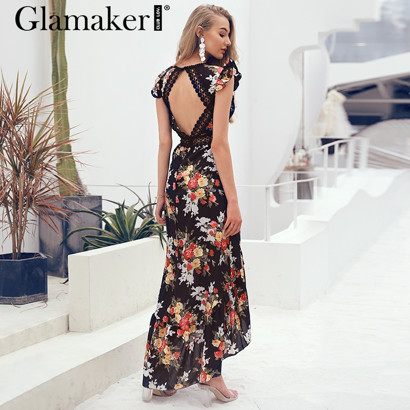 534c76bc933 Glamaker Sexy deep V neck backless summer dress Women floral print bohemian  maxi dress Hollow out irregular long dress vestidos-in Dresses from Women's  ...