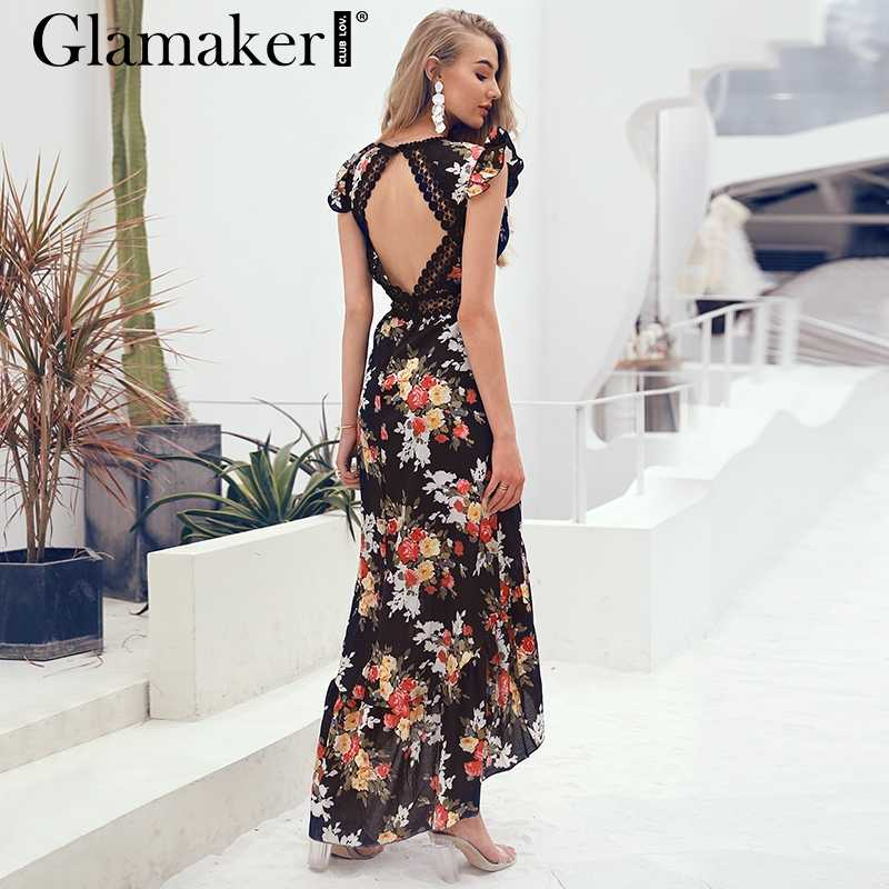 Glamaker floral Dress Glamaker Sexy deep V neck backless summer dress Women floral print bohemian  maxi dress Hollow out
