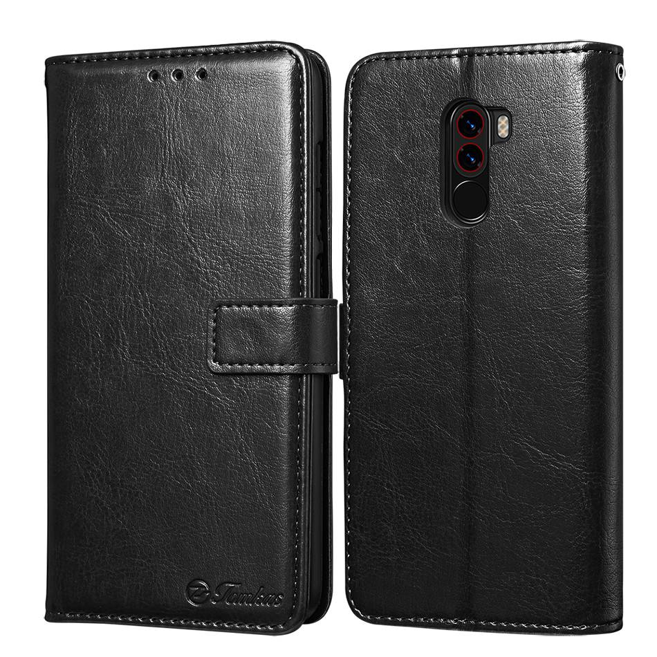 TOMKAS Pocophone F1 Case POCO F1 Global Flip Wallet With Stand Vintage Leather Silicone Back Cover Case For Xiaomi Pocophone F1 (2)