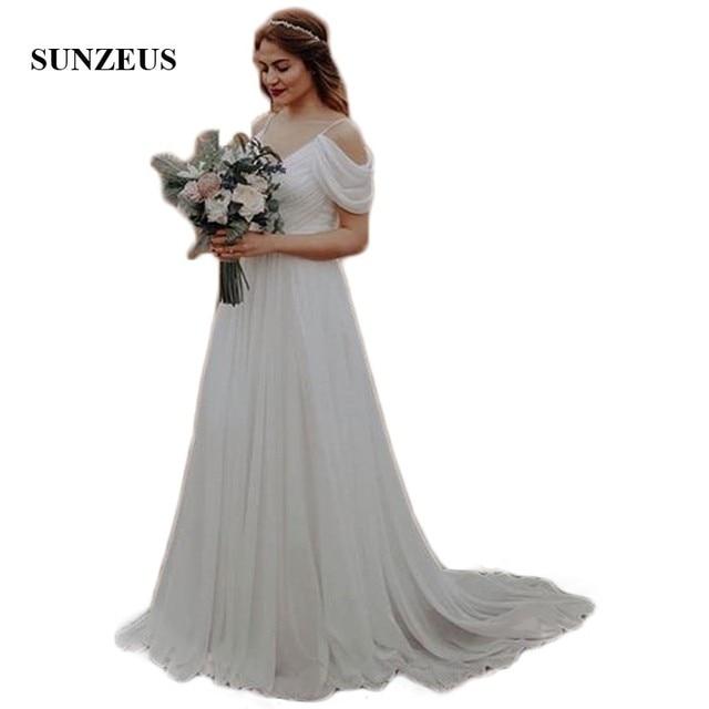 b66c867cf Spaghetti correas vestido de boda vestidos de gasa pliegues el hombro  verano playa vestidos de boda vestido de novia de simples SW07