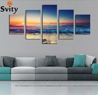 5 Free Shipping Wall Art Of Painting Canvas Digital Painting Ocean Scenery Home Decorative Painting No