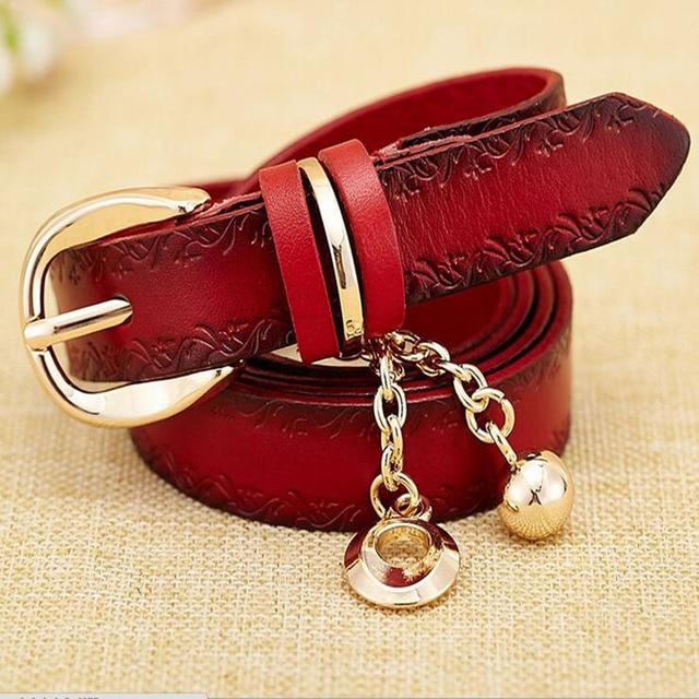 [Himunu]2016 New Fashion First Layer of Leather Thin Belt Pendant Belts for Women  Joker Decoration Narrow Belt Woman Red Black