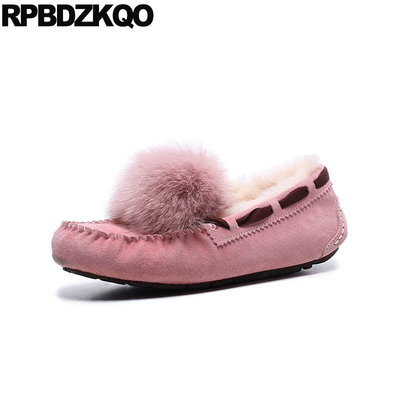 Flats Designer Boat Suede Moccasins Kawaii Fur Brand Slip On Pink Real Leather Loafers Round Toe Shoes Rabbit Cute Women Pom Pom women s platform flats loafers genuine leather slip on brogues shoes for women female footwear brand designer moccasins calzados