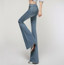 Plus Size High Waist Jeans Skinny Pants Womens High Waisted Flare Jeans Long Trousers Push Up Jean Slim Femme