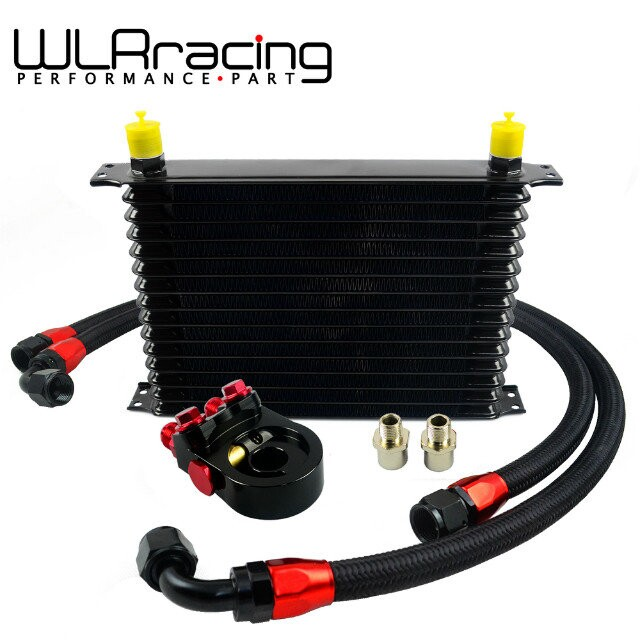 WLR- Universal 15 ROWS Trust type OIL COOLER +AN10 Oil Sandwich Plate Adapter with Thermostat+2PCS NYLON BRAIDED HOSE LINE BLACK vr universal 10 rows oil cooler engine an10 oil sandwich plate adapte with thermostat 2pcs nylon braided hose line black