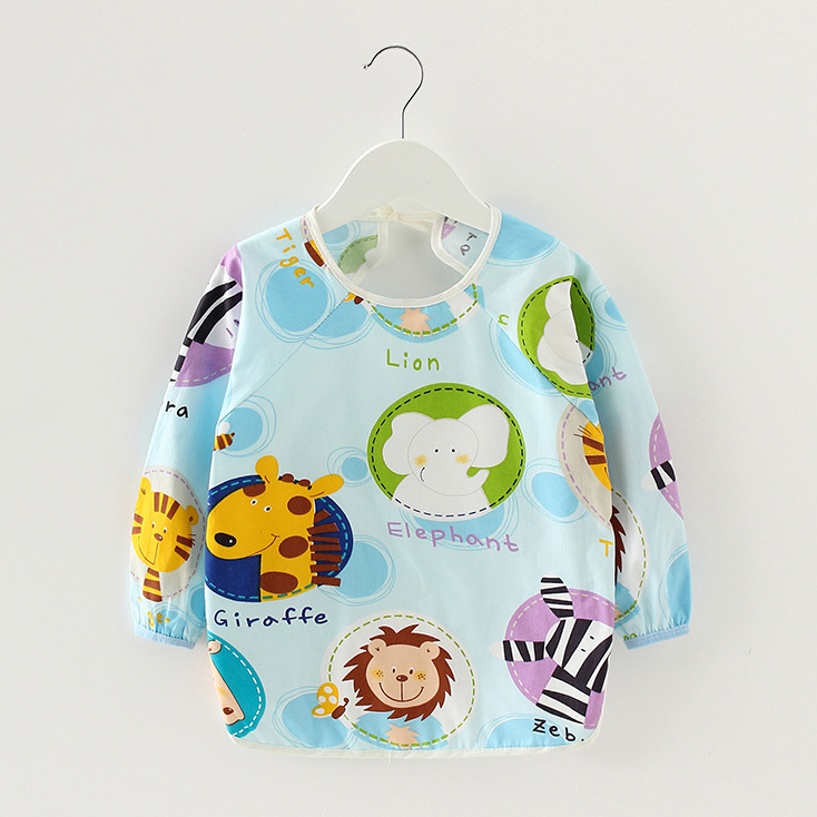 Infant Eating Children Drawing Long Sleeve Apron Baby Self Feeding Bib