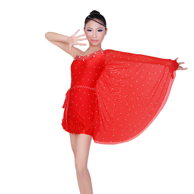 8fdad5e77 One Shoulder Kid Latin Dance Dress latin Dancewear Stage Performance ...