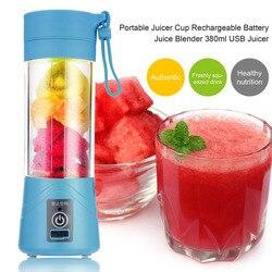 380ml USB Rechargeable Juicer Bottle Cup Juice Citrus Blender Lemon vegetables fruit Milkshake Smoothie Squeezers Reamers Bottle