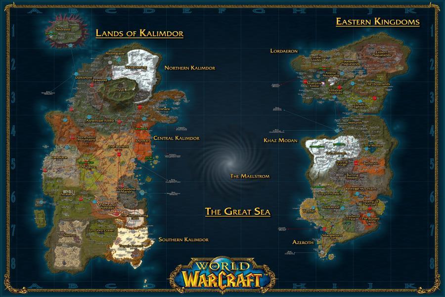 mapa wow ⑦Decoración personalizada de la pared de la lona World of  mapa wow