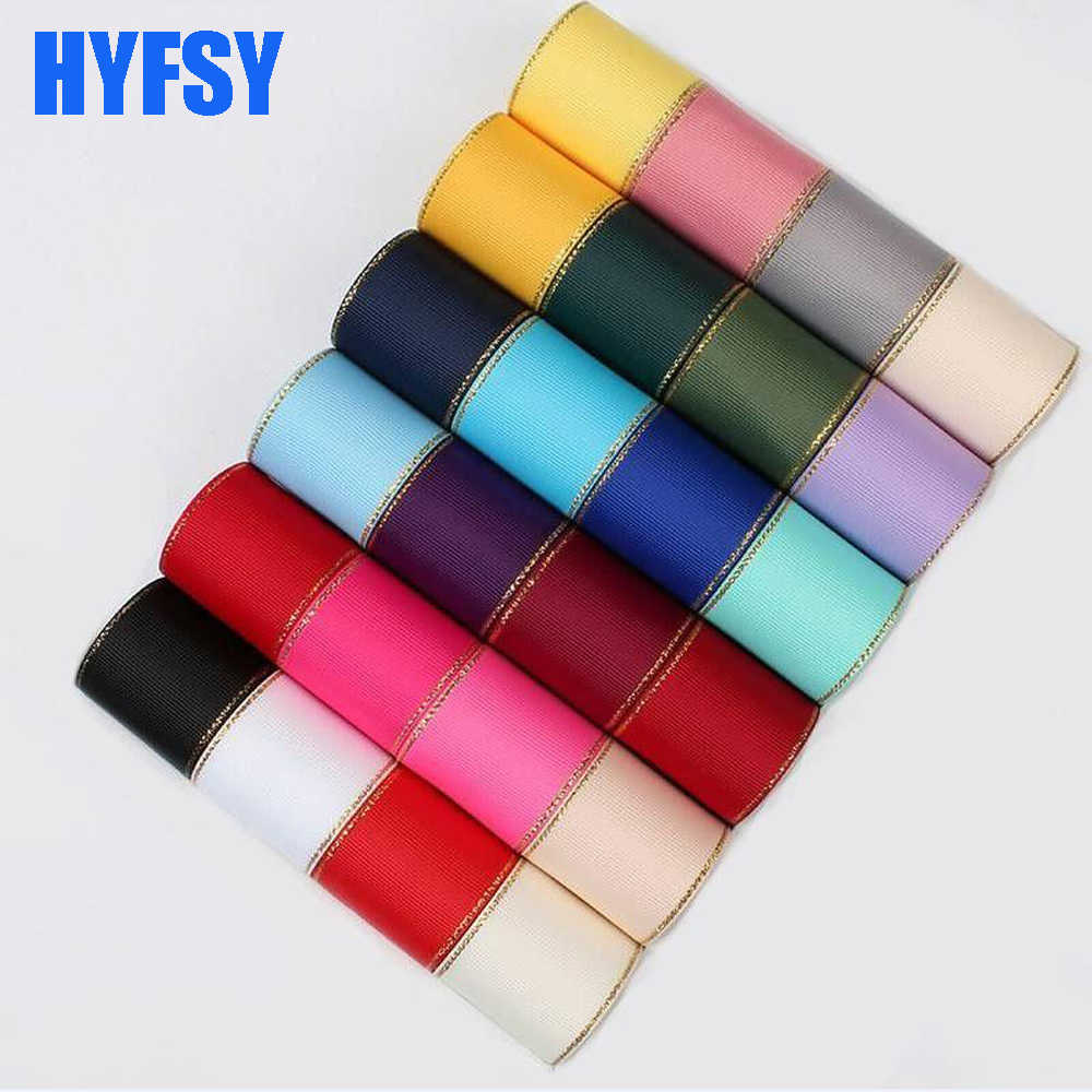 Hyfsy 10079 10mm/16mm/25mm/38mm/10 yardas DIY regalo embalaje hecho a mano de doble cara de oro borde cintas de grogrén pelo
