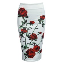 2016 New Fashion Vintage Bodycon Women Skirt High Waist Sheathy Pencil Floral Zippered Women Skirt Saias Mid Sexy Bandage Skirt