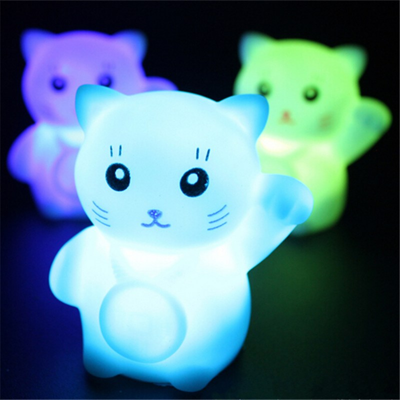 Novelty Cat Night Light Magic PVC Led Lucky  Flashing Lamp Changing Colors Colorful Bedroom Holiday Home Decor Kids  Gift