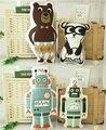 Moda Encantadores Animales de Dibujos Animados Oso Panda Robot Cojín Almohada Bebé Tranquilo Sueño Muñecas Juguetes de Peluche Para Los Niños Decoración de La Habitación