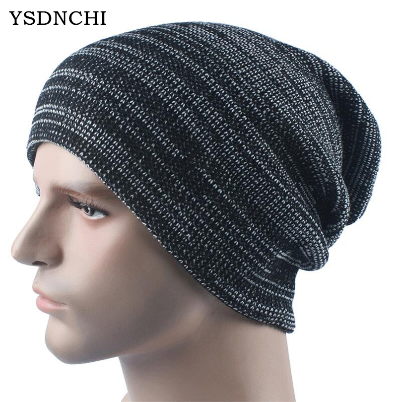 YSDNCHI Autumn Winter Men Wool Knitted High Elasticity Casual Hat Women's 2017 Fashion Hats Beanies Caps Warm Striped Skullies wool felt cowboy hat stetson black 50cm