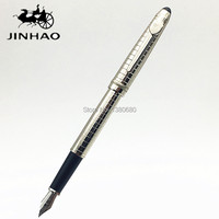 NOBLE JINHAO 163 METAL SILVER GRID FOUNTAIN PEN HIGH QUALITY PEN BLANCE INK PEN MB SUPPLY
