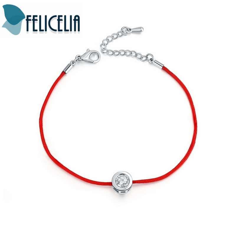 Felicelia ファッション赤列スレッドロープブレスレットスモールキュービックジ Cz のブレスレットハンドメイドクリスタルジュエリー調節可能な