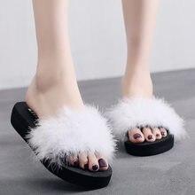 2019 New Women Home Slippers Fur Furry Slide Sweet Feather Flat Bottom Beach Shoes Female Hair Flip Flops Funny Sandals
