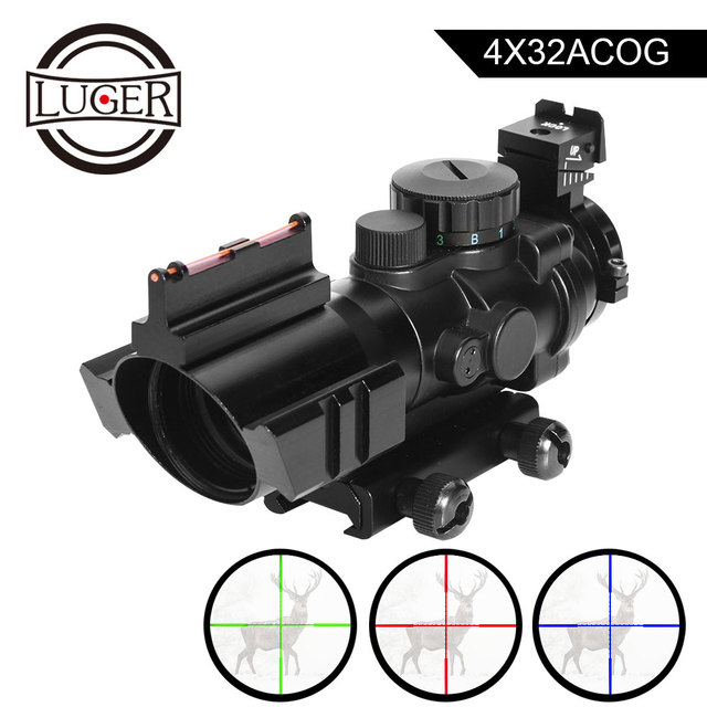 LUGER acog 4x32 Red Dot Riflescope Reflex Tactical Optics Sight Scope With 20mm Rail For Airsoft Guns Hunting Riflescope
