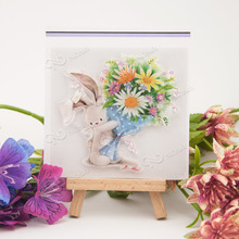 Rabbit and bouquet Transparent Clear Silicone Stamp/Seal for DIY scrapbooking/photo album Decorative clear stamp