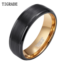 TIGRADE 8mm Men Tungsten Carbide Ring Black & Gold Colors Wedding Band Vintage Jewelry Anime Anel Masculino Aneis Alliance