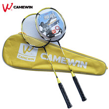 1 Pair Professional Carbon Aluminum Badminton Racket With Bag CAMEWIN Brand High Quality Badminton Racquet Yellow Black(China)
