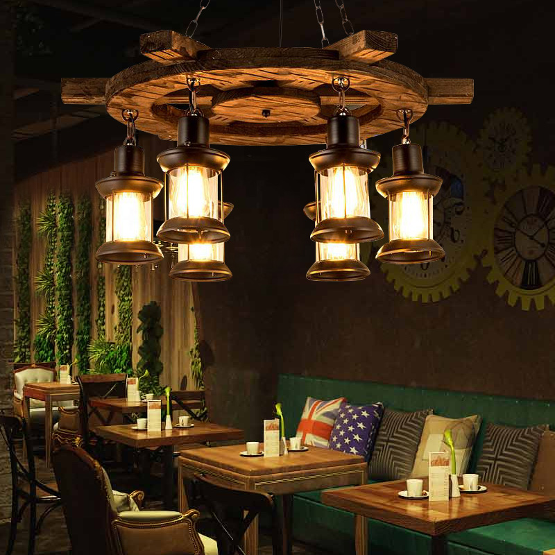 American style creative boat wooden decoration romantic coffee bar restaurant wooden chandelierAmerican style creative boat wooden decoration romantic coffee bar restaurant wooden chandelier