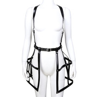 Sexy Bustier Corset Fetish Harness Lingerie Prom Dress Body Cage Straps PU Leather Harness Women Underwear Suspenders Belts