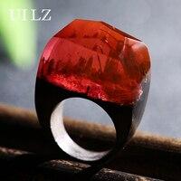 UILZ Unique Exquisite Magic Secret Red Resin Wooden Rings Landscape Handmade Finger Ring Vintage Jewelry JWRP016