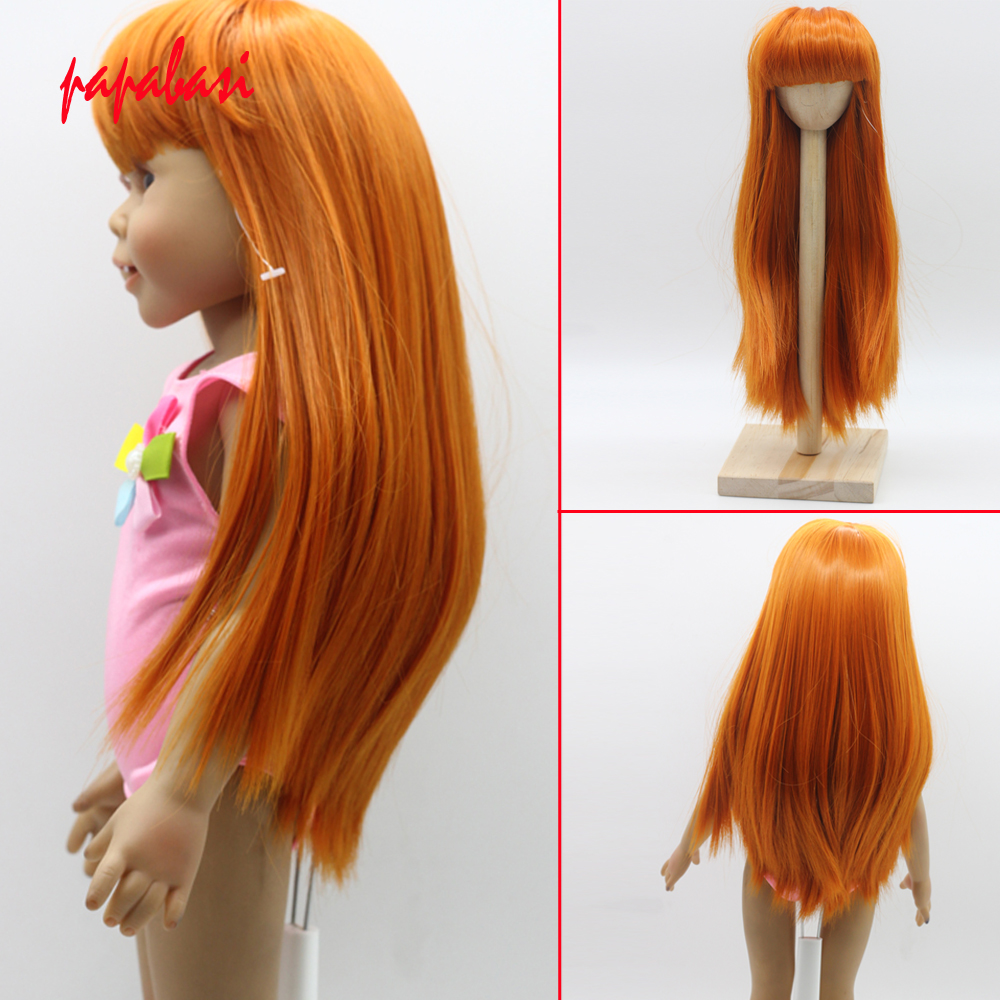 Straight Copper Orange Wigs with Full Bangs fit 18'' height American Girl Doll Heat Resistant Doll's Hair