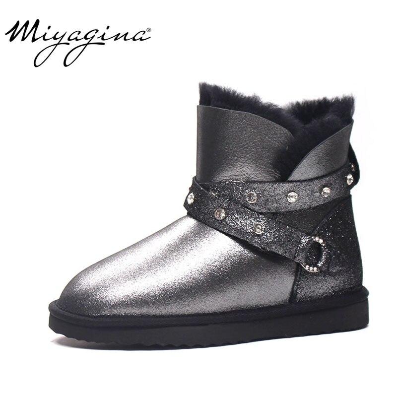 أعلى جودة جديد أزياء حقيقية جلد الغنم الثلوج للنساء الشتاء الصوف بوتاس موهير الطبيعي الحقيقي الفراء الدافئة حذاء قصير-في أحذية الكاحل من أحذية على  مجموعة 1