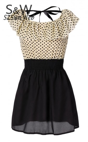 Without Belt! Korean Women Summer New Fashion Chiffon Dress Short-sleeve Dots Polka Waist Mini Beige+Black Free Shipping  38