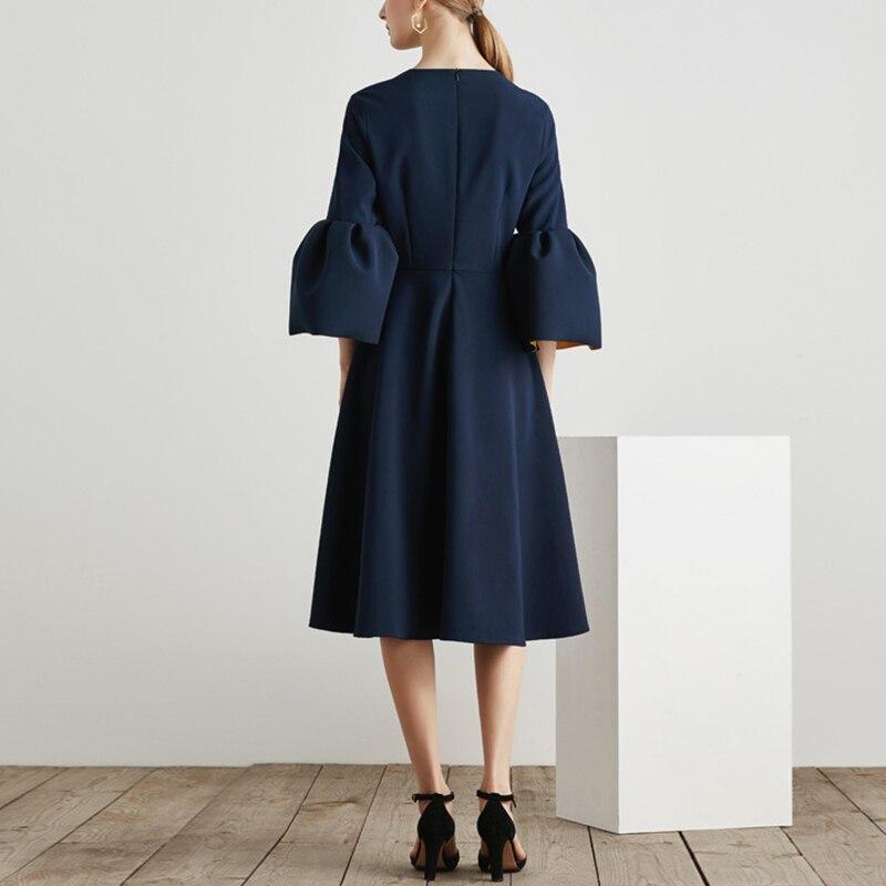 Vêtements Haute Féminine Tunique Blue Printemps Midi Drapée Carré Élégant Mode 2018 Twotwinstyle Manches Robe Taille Col Robes Flare qYnUa4xtw0