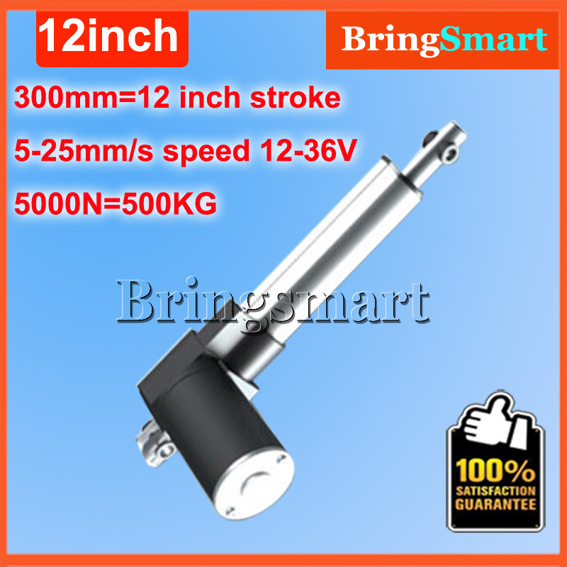Wholesale 12-36V 300mm linear actuator 12V 12 inch 5000N 500KG Load 5-30mm/s Customized Speed mini electric 24v Tubular Motor wholesale 12v linear actuator 150mm 6 inch stroke 7000n 700kg load waterproof 36v tubular motor 48v mini electric actuator 24v