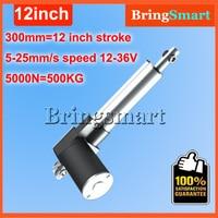 Wholesale 12 36V 300mm linear actuator 12V 12 inch 5000N 500KG Load 5 30mm/s Customized Speed mini electric 24v Tubular Motor