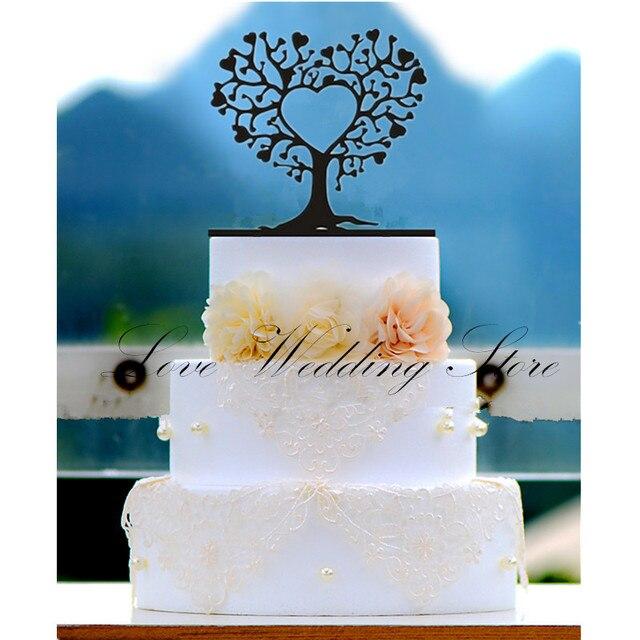 Rustic Wedding Cake Topper Black Acrylic Tree Shape Cake Topper Mr