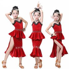 New Pattern Children Lading Dance Match Serve Camisole Lace Korea Down Adult Juvenile Performance Come Serve Fish Tail Skirt(China)