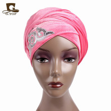 New Women Gorgeous Embellished Sequined Long Velvet Turban Hijab Headscarf Luxurious Head Wraps Ladies Turbante