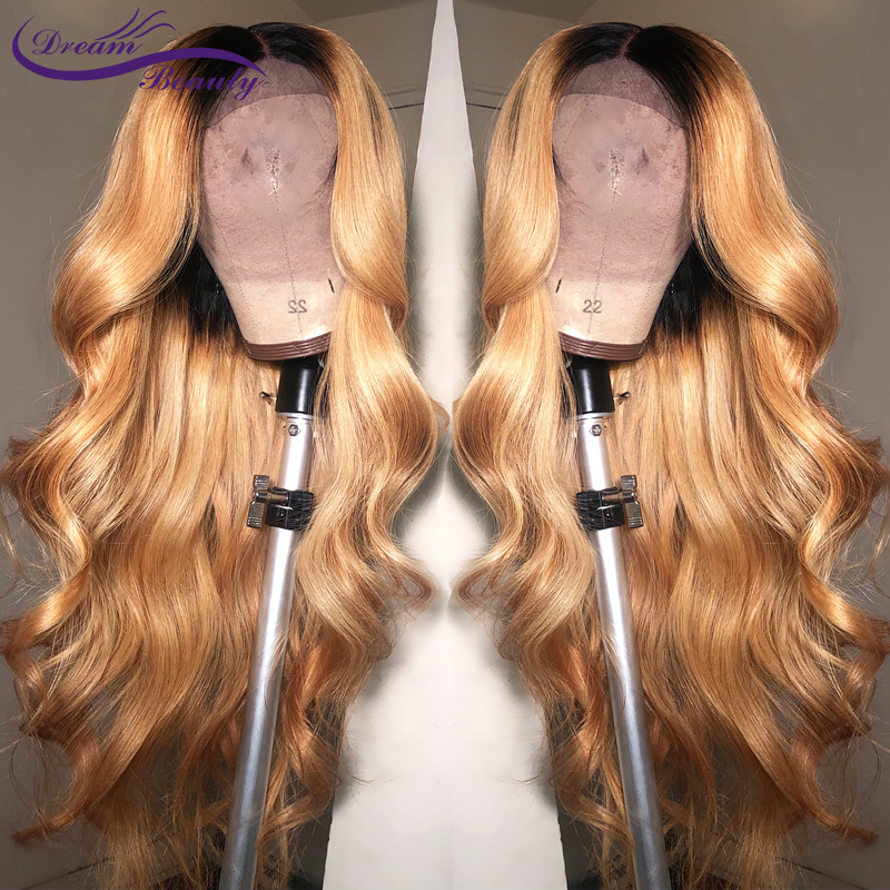 Dream Beauty Body Wave Ombre 27 Color Long Deep Part 13x6 Front Lace Wig Remy Hair Brazilian Human Hair Wigs With Baby Hair(China)