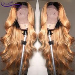 Мечта Красота объемная волна Ombre 27 Цвет длинные глубокий часть 13x6 спереди парик Волосы remy бразильский человеческих волос парики с ребенком