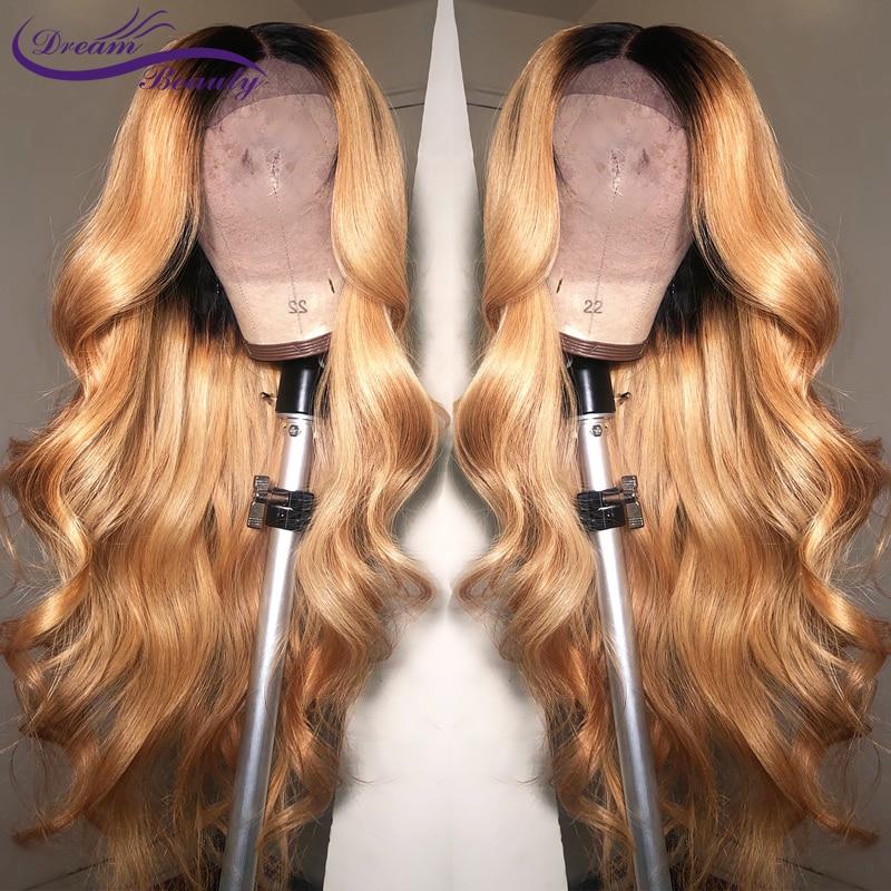 Rêve beauté corps vague Ombre 27 couleur longue profonde partie 13x6 avant dentelle perruque Remy cheveux brésiliens cheveux humains perruques avec bébé cheveux