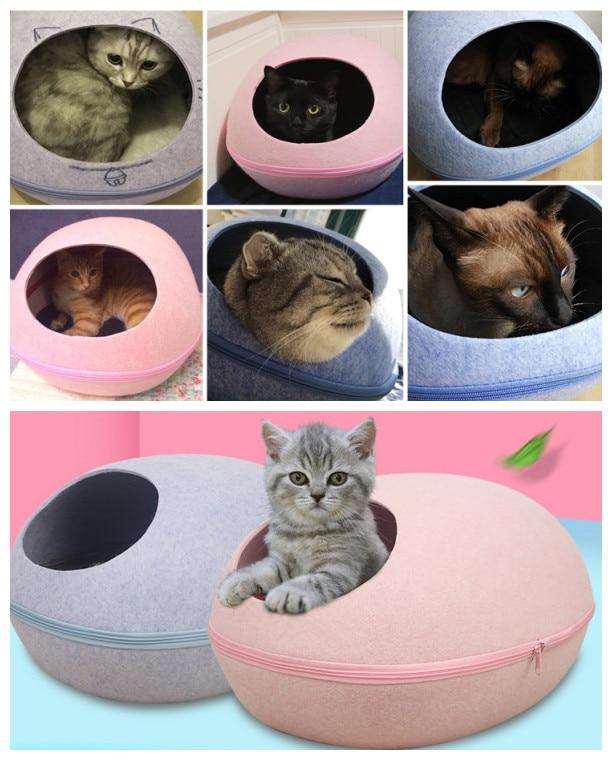 US $32.0 |Egg Stil Haustier katze warm hund welpen Bett hand Fühlte Natürliche Katze wurf Zwinger Abnehmbare Einfach Zu Tragen und Sauber mit heizung