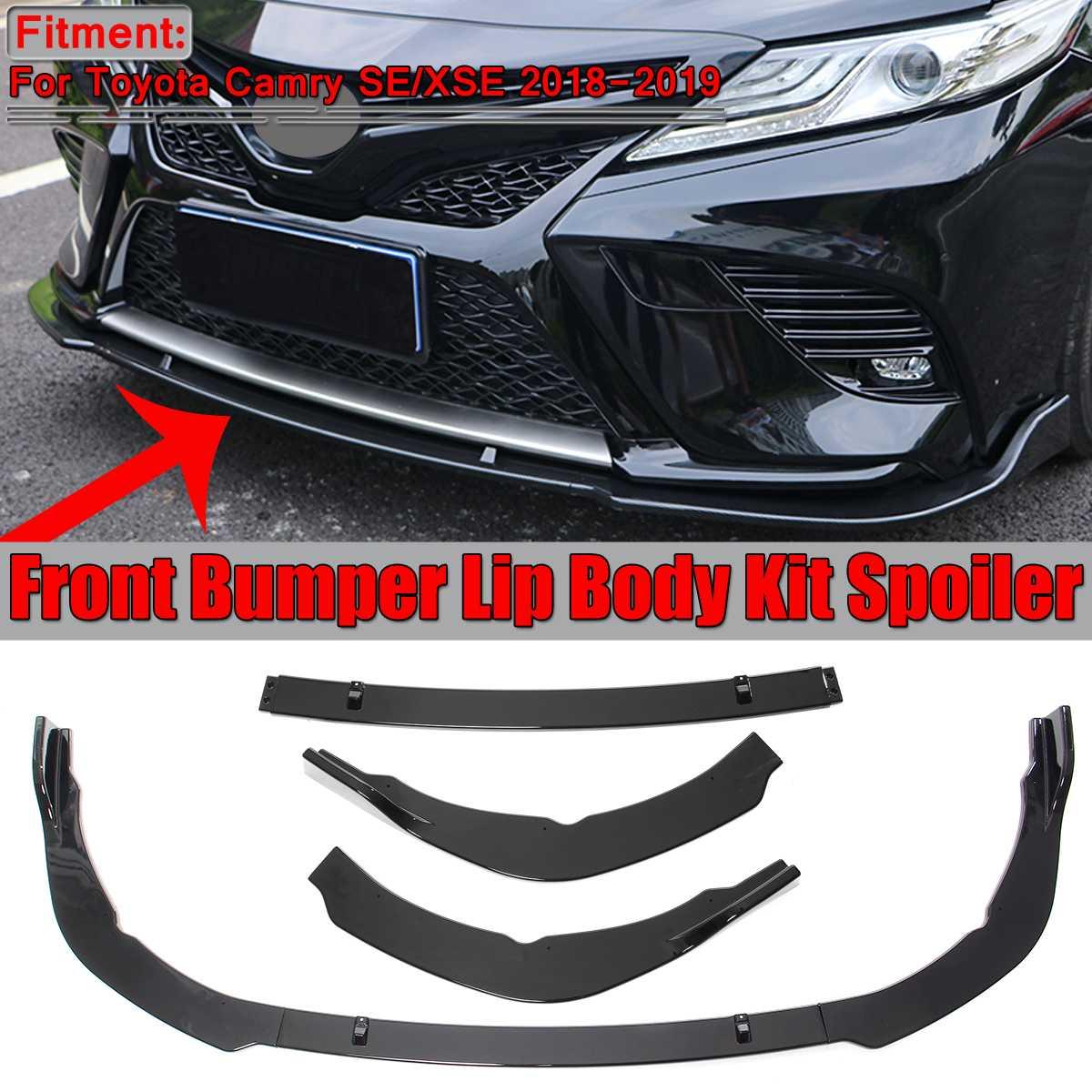 3Pcs Front Bumper Lip Body Kit Lower Spoiler For Toyota Camry SE XSE 2018-2019